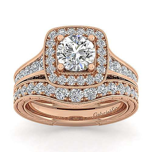 Elaine 14k Pink Gold Round Halo Engagement Ring angle 4