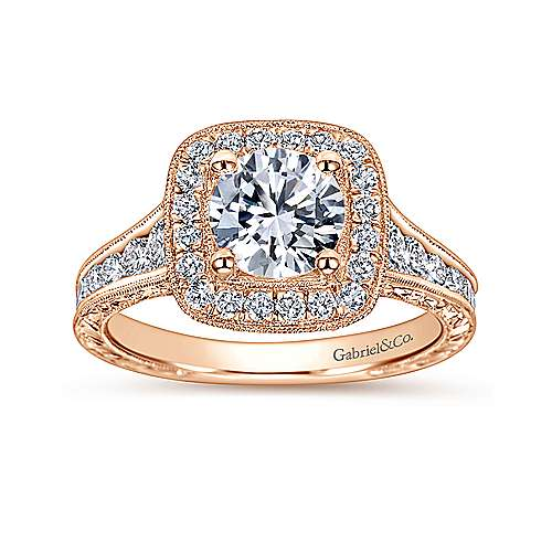 Elaine 14k Pink Gold Round Halo Engagement Ring angle 5