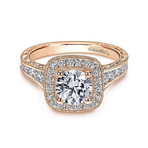Gabriel - Elaine 14k Rose Gold Round Halo Engagement Ring