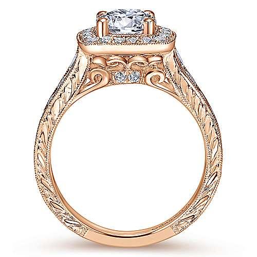 Elaine 14k Rose Gold Round Halo Engagement Ring