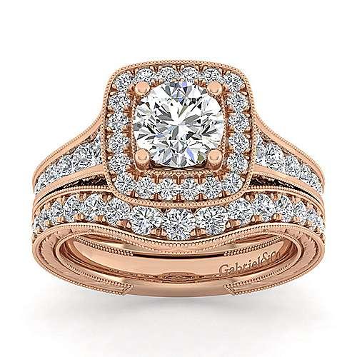 Elaine 14k Rose Gold Round Halo Engagement Ring angle 4