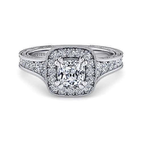 Gabriel - Elaine 14k White Gold Cushion Cut Halo Engagement Ring