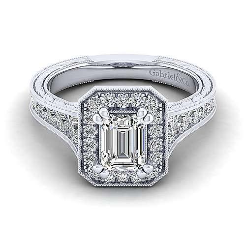 Gabriel - Elaine 14k White Gold Emerald Cut Halo Engagement Ring