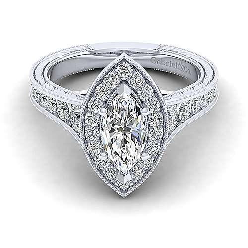 Gabriel - Elaine 14k White Gold Marquise  Halo Engagement Ring