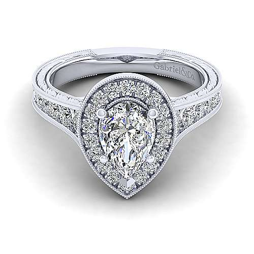 Gabriel - Elaine 14k White Gold Pear Shape Halo Engagement Ring