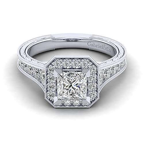 Gabriel - Elaine 14k White Gold Princess Cut Halo Engagement Ring