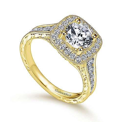 Elaine 14k Yellow Gold Round Halo Engagement Ring angle 3