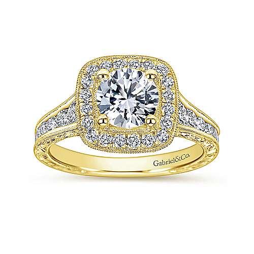 Elaine 14k Yellow Gold Round Halo Engagement Ring angle 5