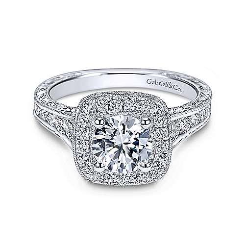 Gabriel - Elaine 18k White Gold Round Halo Engagement Ring