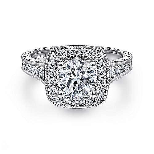 Gabriel - Elaine Platinum Round Halo Engagement Ring