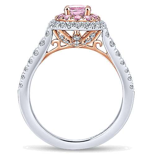 Elara 14k White And Rose Gold Oval Double Halo Engagement Ring angle 2