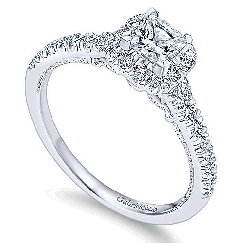Eleanora 14k White Gold Princess Cut Halo Engagement Ring angle 3