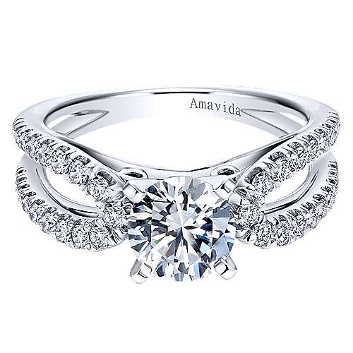 Gabriel - Elena 18k White Gold Round Split Shank Engagement Ring