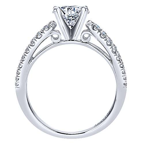 Elena 18k White Gold Round Split Shank Engagement Ring
