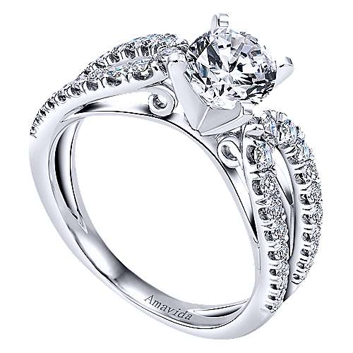 Elena 18k White Gold Round Split Shank Engagement Ring angle 3