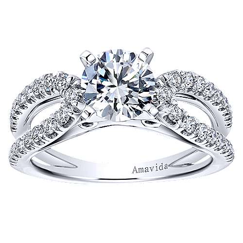 Elena 18k White Gold Round Split Shank Engagement Ring angle 5