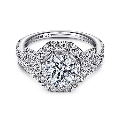 Gabriel - Elenor 18k White Gold Round Halo Engagement Ring