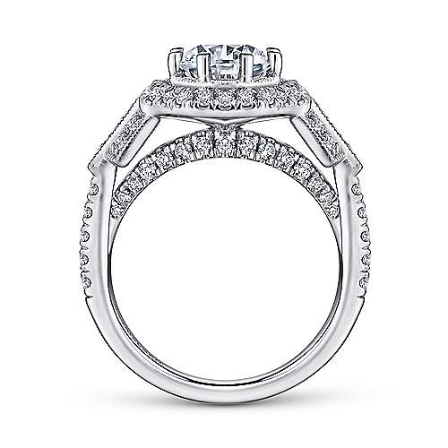 Elenor 18k White Gold Round Halo Engagement Ring angle 2