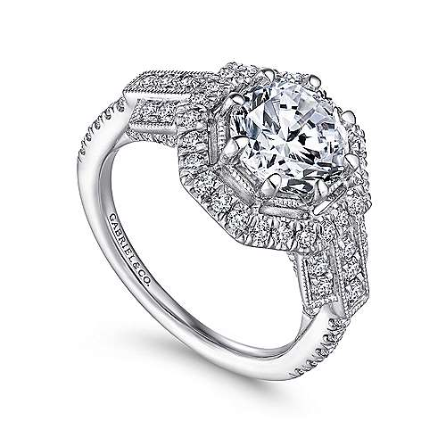 Elenor 18k White Gold Round Halo Engagement Ring angle 3