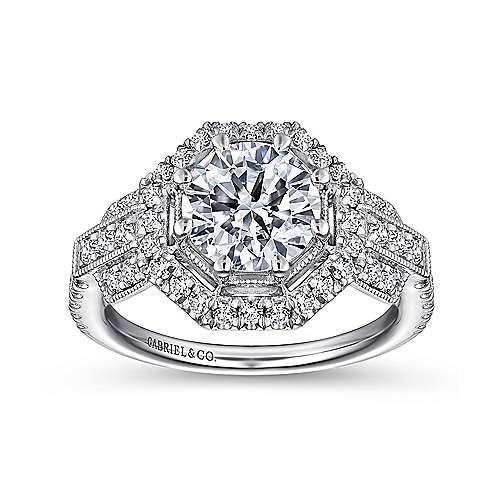 Elenor 18k White Gold Round Halo Engagement Ring angle 5