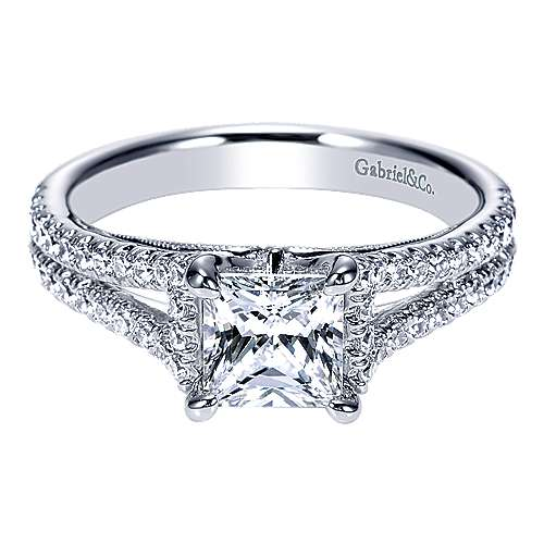 Gabriel - Eli 14k White Gold Princess Cut Split Shank Engagement Ring