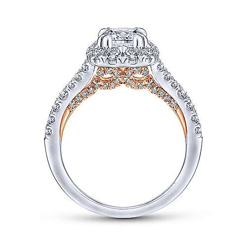 Eliana 14k White And Rose Gold Cushion Cut Halo Engagement Ring angle 2