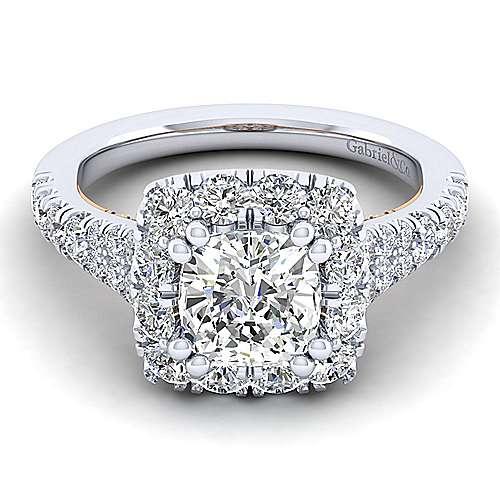 Gabriel - Eliana 14k White And Rose Gold Cushion Cut Halo Engagement Ring