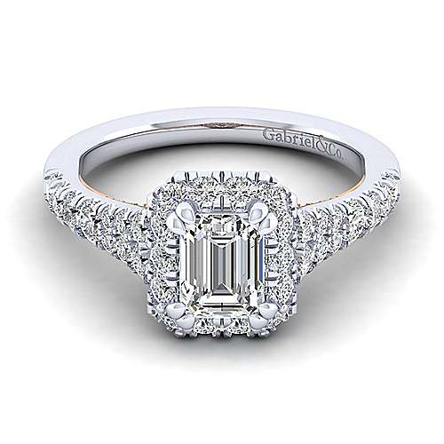 Gabriel - Eliana 14k White And Rose Gold Emerald Cut Halo Engagement Ring