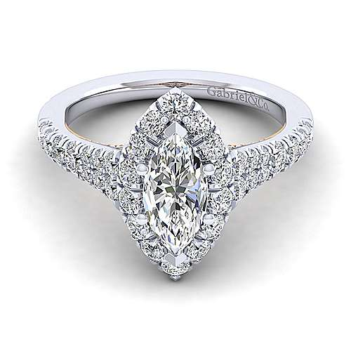 Gabriel - Eliana 14k White And Rose Gold Marquise  Halo Engagement Ring