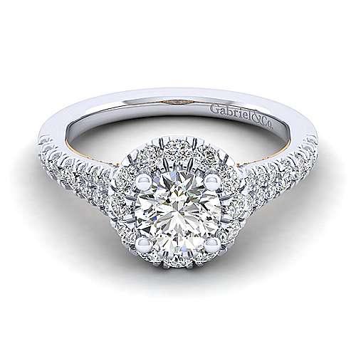 Gabriel - Eliana 14k White And Rose Gold Round Halo Engagement Ring