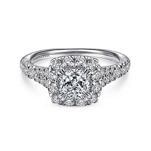 Gabriel - Eliana 14k White/pink Gold Cushion Cut Halo Engagement Ring