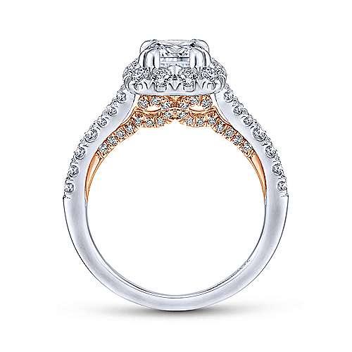 Eliana 14k White/pink Gold Cushion Cut Halo Engagement Ring angle 2