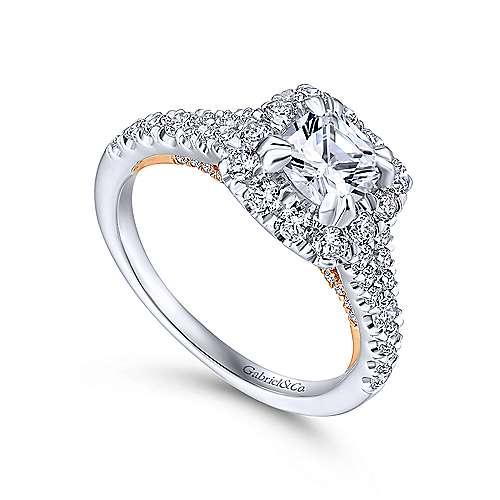 Eliana 14k White/pink Gold Cushion Cut Halo Engagement Ring angle 3