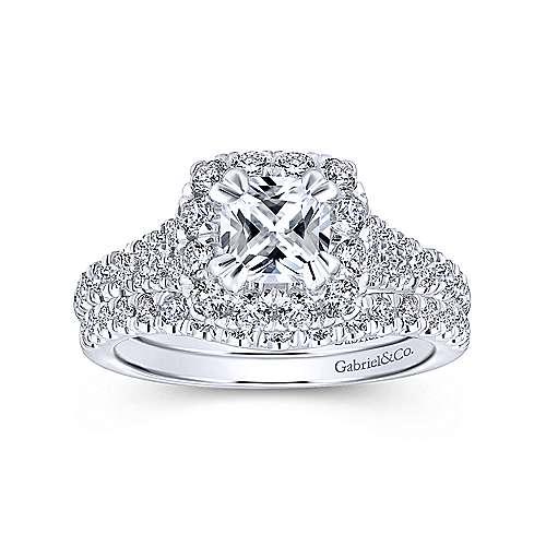 Eliana 14k White/pink Gold Cushion Cut Halo Engagement Ring angle 4