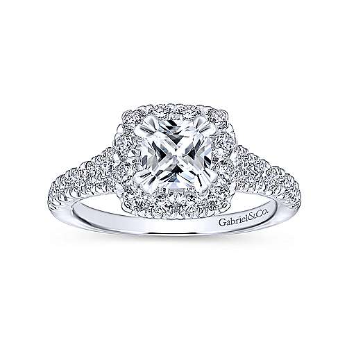 Eliana 14k White/pink Gold Cushion Cut Halo Engagement Ring angle 5