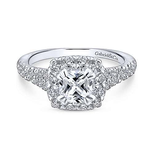 Gabriel - Eliana 18k White And Rose Gold Cushion Cut Halo Engagement Ring