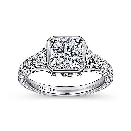 Elisa Platinum Round Halo Engagement Ring