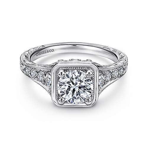 Gabriel - Elisa Platinum Round Halo Engagement Ring