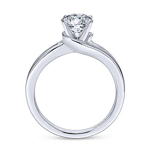 Elise 14k White Gold Round Bypass Engagement Ring angle 2