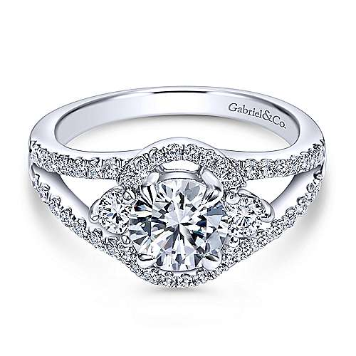 Elissa 14k White Gold Round 3 Stones Engagement Ring angle 1