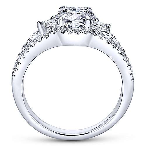Elissa 14k White Gold Round 3 Stones Engagement Ring angle 2