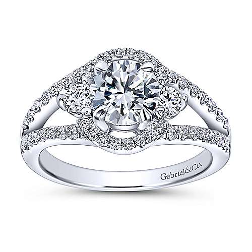Elissa 14k White Gold Round 3 Stones Engagement Ring angle 5
