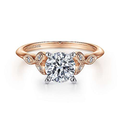 Gabriel - Eliza 14k White And Rose Gold Round Straight Engagement Ring