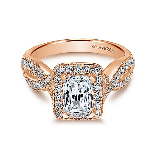 Gabriel - Elizabeth 14k Rose Gold Emerald Cut Halo Engagement Ring