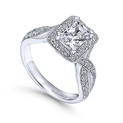 Elizabeth 14k White Gold Emerald Cut Halo Engagement Ring angle 3