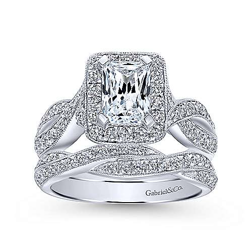 Elizabeth 14k White Gold Emerald Cut Halo Engagement Ring angle 4