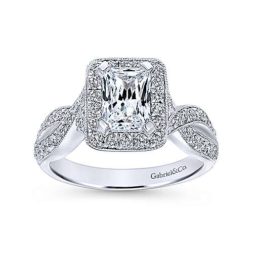Elizabeth 14k White Gold Emerald Cut Halo Engagement Ring angle 5