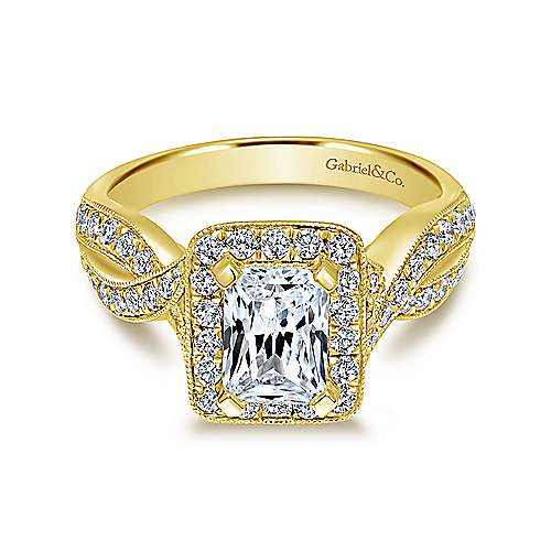 Gabriel - Elizabeth 14k Yellow Gold Emerald Cut Halo Engagement Ring