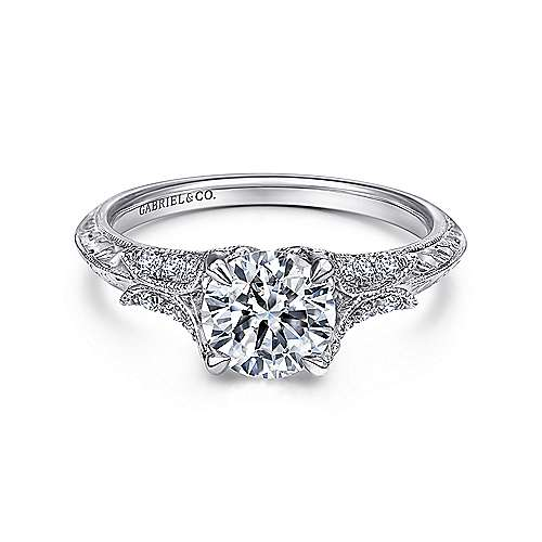 Elizabeth 18k White Gold Round Straight Engagement Ring angle 1