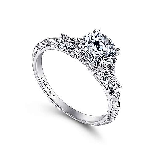 Elizabeth 18k White Gold Round Straight Engagement Ring angle 3
